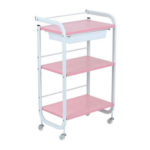 Pink utility hairdressing cart,salon beauty trolley wooden work cart