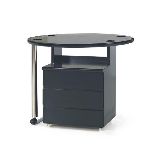 black nail styling stations / beauty salon manicure table with drawers