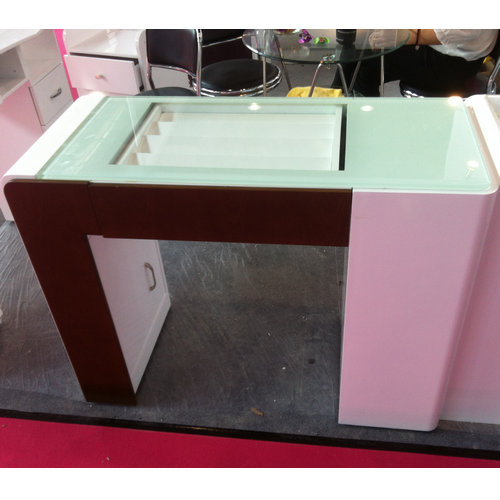 glass top nail technician tables / nail salon furniture / french manicure station