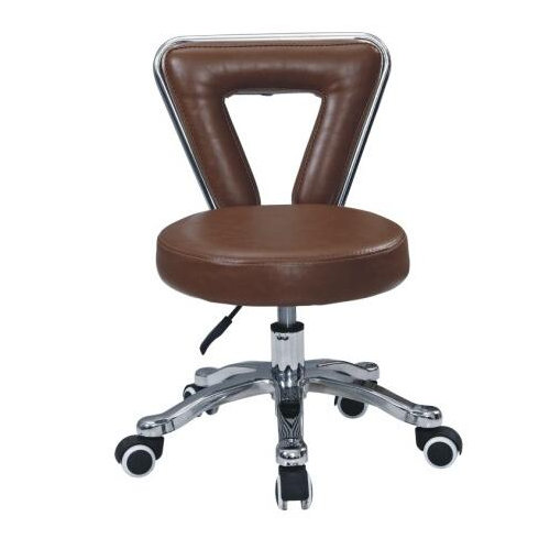 modern beauty salon brown leather saddle stool / barber shop master chair in Foshan