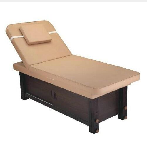 Solid wooden spa adjustable height shiatsu massage table / physical therapy treatment bed