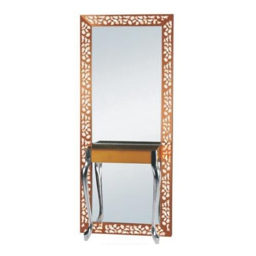Foshan salon mirror station / hairdressing mirror with lighting stainless steel barber mirror station