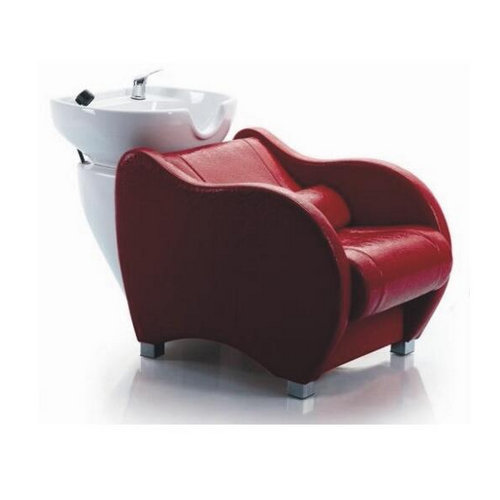 China Alibaba Wholesale Fiberglass base red shampoo chair backwash units / shampoo bowl