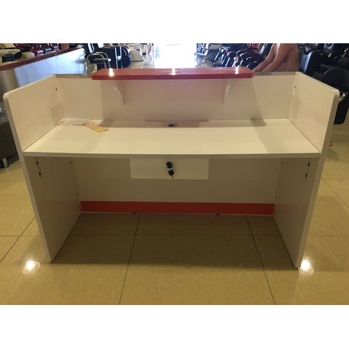 Top design salon white reception desk melamine barber shop reception table design