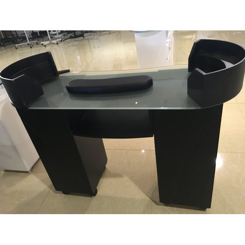 Hot sale beauty wood with glass nail salon furniture table / black manicure table