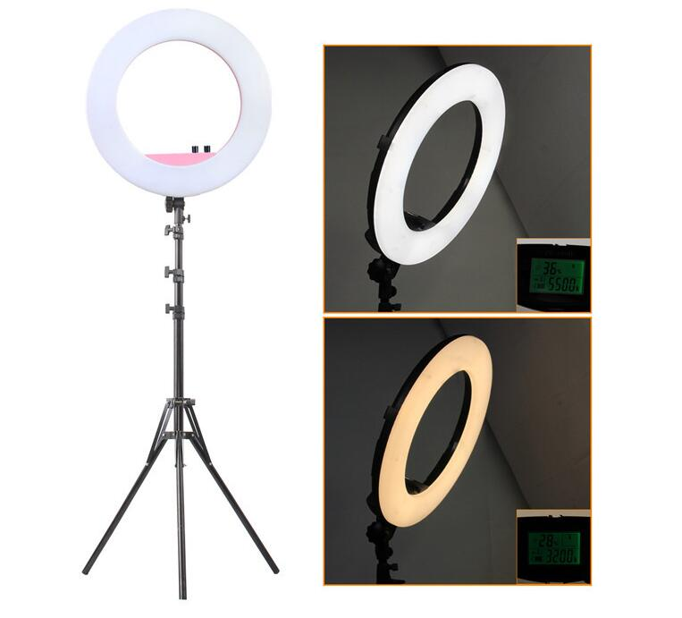 Dimmable Ring Video Light 18 inch LED Ring Light Bicolor for Camera Iphone Makeup & Beauty photography