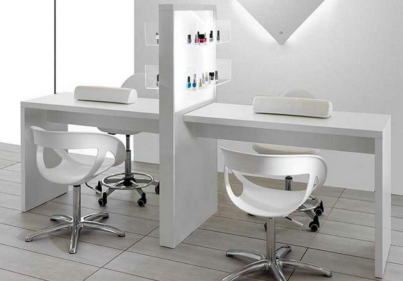 New double white beauty stations nail desks manicure bar tables salon furniture
