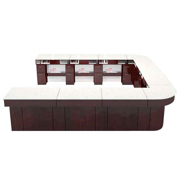 Luxury customized unique salon furniture nail bar tables manicure desks stations with light