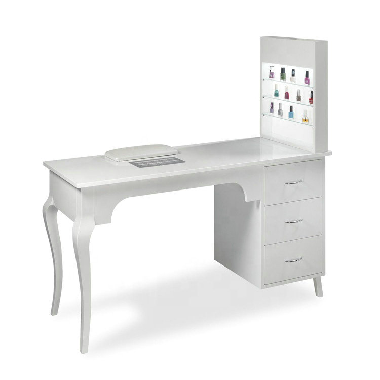Wholesale wood white beauty salon desk nail station manicure table with cabinet