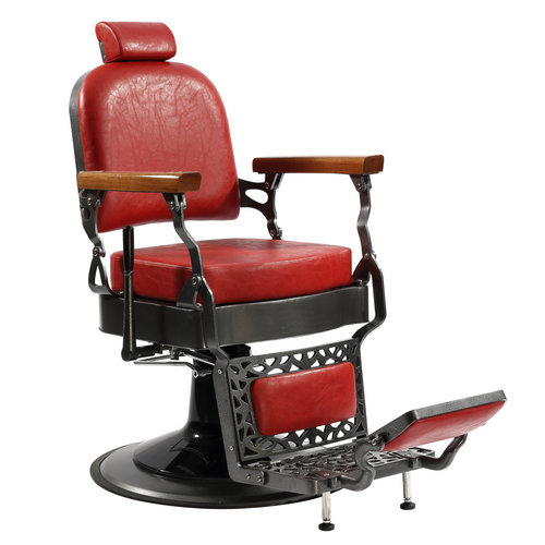 Koch Antique Ergonomic Tall Hydraulic Red Barber Shop Recline Hair Cutting Chairs
