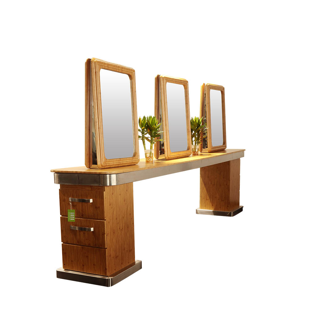 Double sided beauty makeup cabinet tables salon styling mirror stations