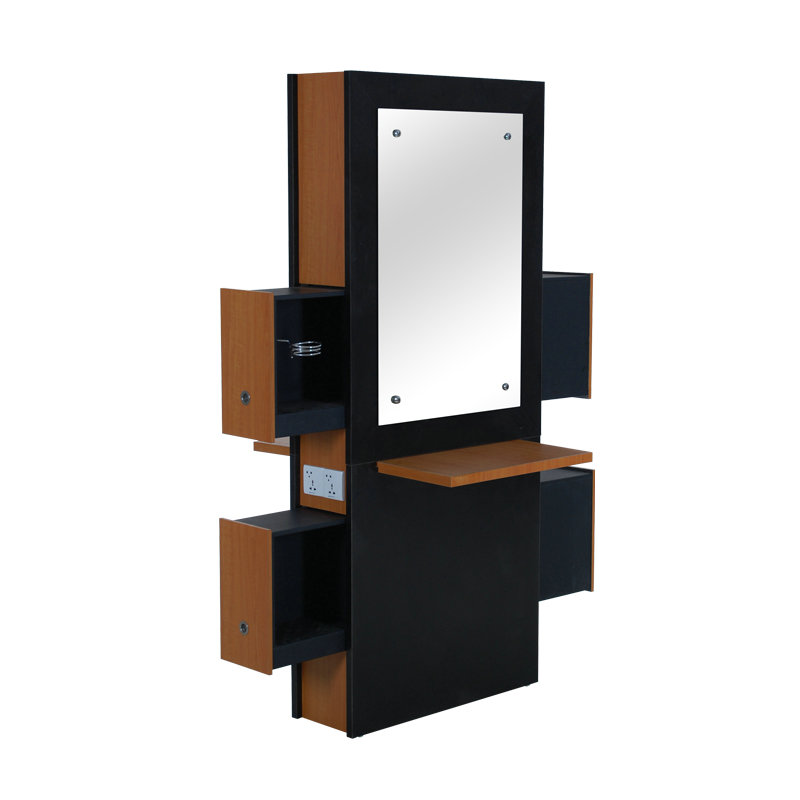 Wood Barber Mirror Salon Styling Station with Storage Cabinet