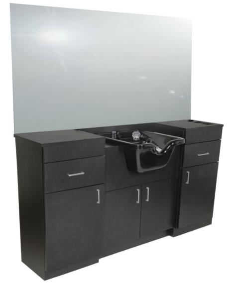 Barber wet counter styling washing unit mirror station with shampoo basin