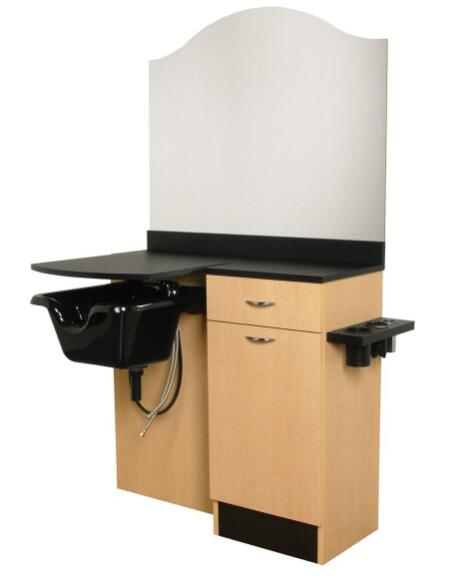 Barber Wet Salon Cabinet Styling Mirror Station Table with Shampoo basin